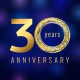 O aniversário ouro de um número de 30 anos coloriu o logotipo do vetor Fotos de Stock