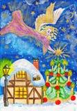 O anjo com estrela, mão pintou o retrato do Natal Fotos de Stock Royalty Free
