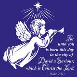 O anjo voa e joga a trombeta, símbolo religioso do esboço tirado mão da ilustração do vetor da cristandade ilustração royalty free