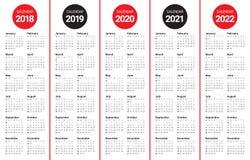 O ano 2018 2019 2020 2021 2022 calendar o vetor Imagem de Stock