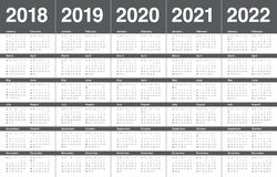 O ano 2018 2019 2020 2021 2022 calendar o vetor ilustração stock