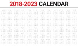 O ano 2018 2019 2020 2021 2022 2023 calendar o vetor ilustração stock