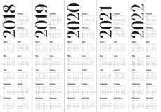 O ano 2018 2019 2020 2021 2022 calendar o vetor Imagens de Stock Royalty Free