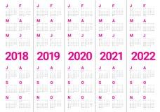 O ano 2018 2019 2020 2021 2022 calendar o vetor ilustração royalty free