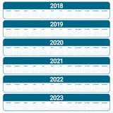 O ano 2018 2019 2020 2021 2022 2023 calendar o vetor Foto de Stock