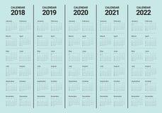 O ano 2018 2019 2020 2021 2022 calendar o vetor Fotografia de Stock