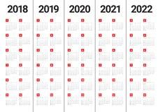 O ano 2018 2019 2020 2021 2022 calendar o vetor Fotos de Stock