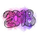 O ano 2018 da garatuja com teste padrão e aquarela do boho espirra Ano novo Foto de Stock
