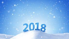 O ano novo 2018 assina dentro a rendição da tração 3D da neve Fotos de Stock Royalty Free