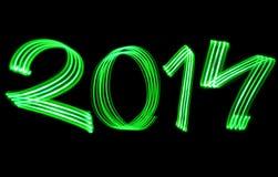O ano novo 2014 borrou luzes verdes Imagem de Stock Royalty Free