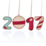 O ano novo brinca em 2017 o fundo branco Fotografia de Stock Royalty Free