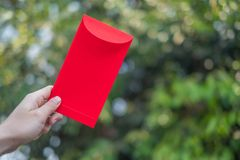 O ano novo chinês feliz, mão que guarda o envelope vermelho ou chamou Angpao no fundo verde do bokeh das árvores foto de stock