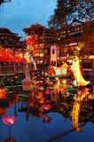 O ano novo chinês na cor de superfície ilumina-se Foto de Stock