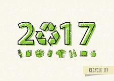 O ano novo 2017 com recicla a ilustração do vetor do sinal ilustração do vetor