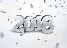 O ano novo 2018 3d prateia o fundo dos números com confetes 2018 confetes da prata do cartão da celebração do feriado no branco Fotos de Stock