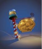 O ano novo decorou o sinal do polo Imagens de Stock