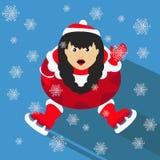 O ano novo do Natal da menina de Santa no fundo azul que senta-se com patins e as ondas levantam a ilustração Fotografia de Stock