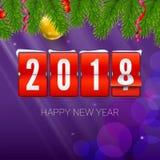 O ano novo está vindo 2018 Fundo com pulso de disparo, a serpentina e a bola mecânicos do Natal Ilustração do ano novo feliz 3d Fotografia de Stock Royalty Free