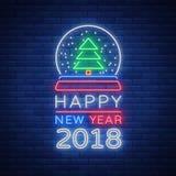 O ano novo feliz 2018 é um sinal de néon Símbolo de néon para seus projetos do ` s do ano novo, cartões de cumprimentos, insetos, Fotos de Stock