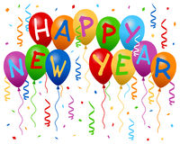 O ano novo feliz Balloons a bandeira Fotos de Stock