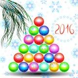 O ano novo feliz com a árvore de Natal do Natal brinca ilustração stock