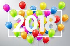 O ano novo feliz 2018 com balões coloridos e quadro quadrado, comemora o conceito, ilustração do vetor Imagens de Stock