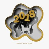 O ano novo feliz 2018 3d abstrai a ilustração do corte do papel do cão, árvore, neve na noite ilustração stock