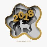 O ano novo feliz 2018 3d abstrai a ilustração do corte do papel dos cervos, árvore, neve na noite ilustração do vetor