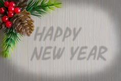 O ano novo feliz da inscri??o Fundo - textura da madeira imagens de stock
