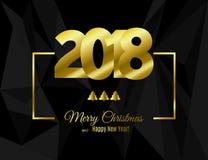 O ano novo feliz 2018 e o Feliz Natal text o projeto no quadro do ouro isolado no preto ilustração do vetor