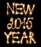 O ano novo feliz 2015 fez dos sparkles no preto Foto de Stock Royalty Free
