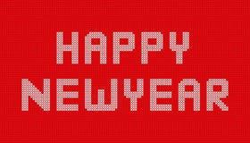O ano novo feliz fez malha no projeto vermelho do fundo Fotos de Stock