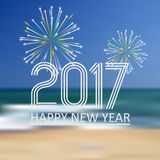 O ano novo feliz 2017 na praia azul gosta do fundo abstrato da cor com fogos-de-artifício eps10 Fotografia de Stock