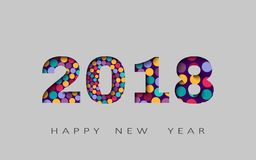 O ano novo feliz, projeto abstrato 3d, 2018 vector a ilustração Foto de Stock Royalty Free