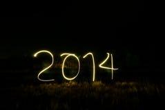 O ano novo 2014 fez da luz real Imagem de Stock Royalty Free