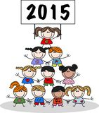 O ano novo 2015 misturou crianças étnicas Imagem de Stock