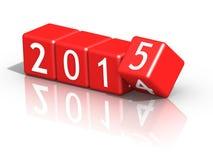 O ano novo 2015 no vermelho corta ilustração stock