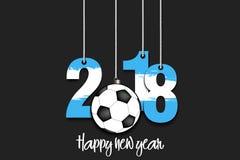 O ano novo numera 2018 e bola de futebol Fotos de Stock
