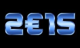 O ano 2015, o metal azul numera com euro- símbolo de moeda Imagem de Stock Royalty Free