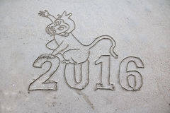 2016, o ano passado assina na praia Imagens de Stock
