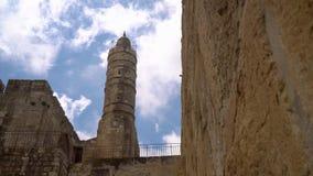 O antigo minarete na antiga cidade de Jerusalém filme