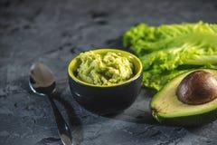 O aperitivo frio mexicano fez da polpa pureed do abacate com pão imagem de stock royalty free