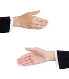 O aperto de mão da mulher Foto de Stock