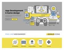 O App e o jogo desenvolvem a linha lisa bandeira Foto de Stock Royalty Free