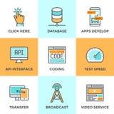 O App tornam-se e a linha ícones da tecnologia dos dados ajustados Imagens de Stock Royalty Free