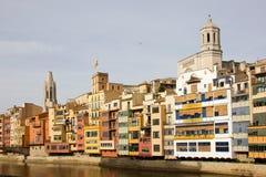 Oñar houses, Basilica and Gerona Cathedral Royalty Free Stock Photo