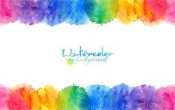 O arco-íris brilhante colore o quadro dos círculos da aquarela ilustração royalty free