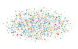 O arco-íris brilhante colorido colore papéis redondos dos confetes ovais da nuvem isolados no fundo branco Molde do aniversário Imagem de Stock Royalty Free