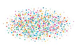 O arco-íris brilhante colorido colore papéis redondos dos confetes ovais da nuvem isolados no fundo branco Molde do aniversário Fotografia de Stock