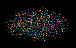 O arco-íris brilhante colorido colore papéis redondos dos confetes ovais da nuvem isolados no fundo preto Foto de Stock Royalty Free